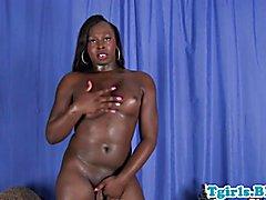 Curvy bigbooty black trans solo session