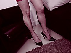 Tranny Camilla Jolie, mistress with masked submissive slave!