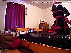 Sissy escapes self hogtie