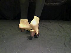 Fuck asspussy latex body feet in tan nylon socks and mules
