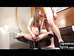 Japanese Newhalf in Leather Boots Gets Anal!