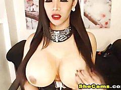 Big Tits Shemale masturbates on Cam