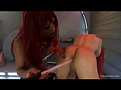 TS Domme Destroys Boy in Alien Spaceship!