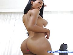 Ebony TS Spreading her Ass and Swings her Balls