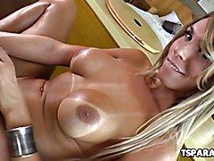 Trans Beauty Camyle Victoria Strokes Her Cock