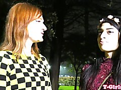 Redhead ts plows her tranny gf after bj