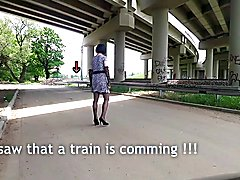 Outdoor strip & first public flash to passing train