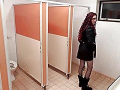 Crossdresser public toilets  - clip # 02