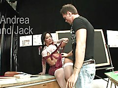Tranny Art Shemale in white lingerie butt fucking a dude  - clip # 02