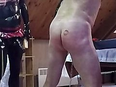 Mistress whips a sub slave