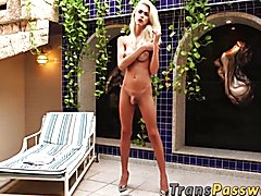 Seductive trans babe interracially dicked with pleasure