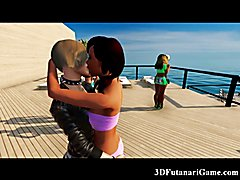 Lesbian She-Males in 3D Sex Game