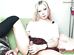 Blondie ladyboy stroking schlong online