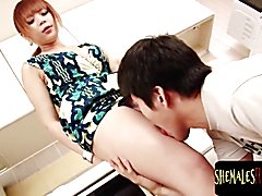 Ts gets her cock sucked before anal