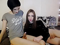 Two Tranny pleasure and cum together
