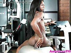 Black transbabe jerks her cock after workout  - clip # 02