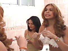 Beauteous Latino Tranny takes care of Chick