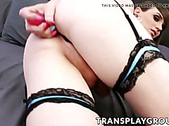 Transsexual beauty natalie mars stuffs huge sextoy all the way up
