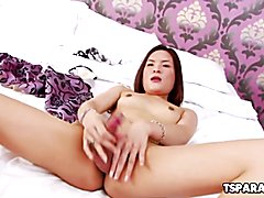 Pretty Asian T-Chick Pim Enjoys Some Solo Fun