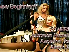 The mistress with her t-girl and crossdress slave