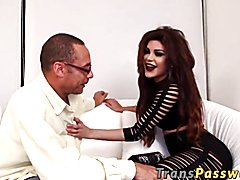 Large booty tranny bouncing on mostrous black penis