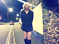 Sexy Mature She-Male Flashing at the Roadside