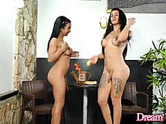 Chesty n hung t-girls yasmin and estela play with bananas