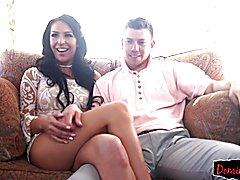 Busty transsexual like a doggy fucked by horny stud