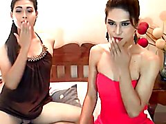 Sexy sultry ladyboy slurps schlong and anal fucking