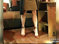 High heels and brown dress