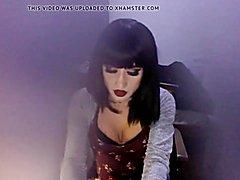 Very cute transsexual masturbates huge penis on web webcam pt. 4