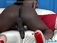Bigtitted tran ebony loves stroking her bigcock