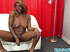 Adorable ebony t-baby tugging during her debut