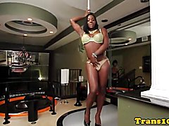Bigtitted ebony tv tugging her prick  - clip # 02