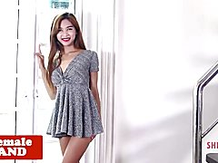 Petite ladyboy spreads ass while teasing solo  - clip # 02