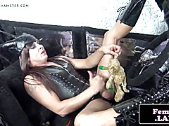 Leather femboy mastering her cock  - clip # 02