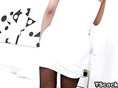 Sultry solo video with tv milk