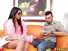 Tattooed latina tgirl cocksucking before anal  - clip # 02