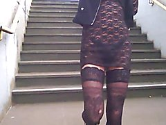 Fun at public station dressed very nasty see through