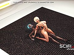 Sci-fi passion. 3d ebony sexy dickgirl fucks young blond