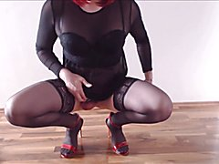 White CD fagg in chastity fucks her boipussy with bbc toy