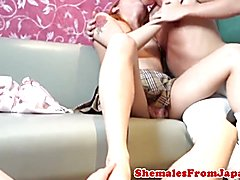 Japanese tgirl babe trio fucking and jizzing  - clip # 02