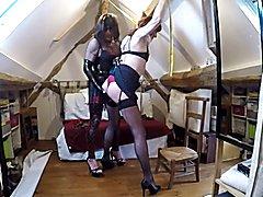 Dominatrix t-girl whip tied tran slave