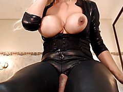 Hung transvestite with close-up ejaculation