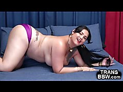 Mischievous BBW T-Girl Plays Alone!