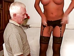 Uncle carl gets some transvestite dick !