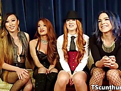 Tgirl gangbang beauties plowing pussy and booty