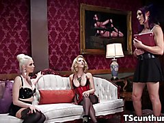 Abducted tranny threesome pounded by classy females