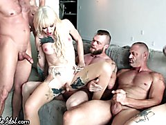 Shemaleidol transsexual blond lena kelly enjoys 5 cocks