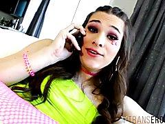 Transerotica teenager t-girl jessy bells hammered by hunks huge prick